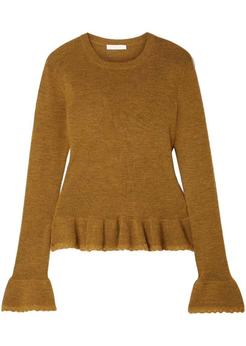 See By Chloé Woman Ruffled Crochet-trimmed Wool Sweater Brown