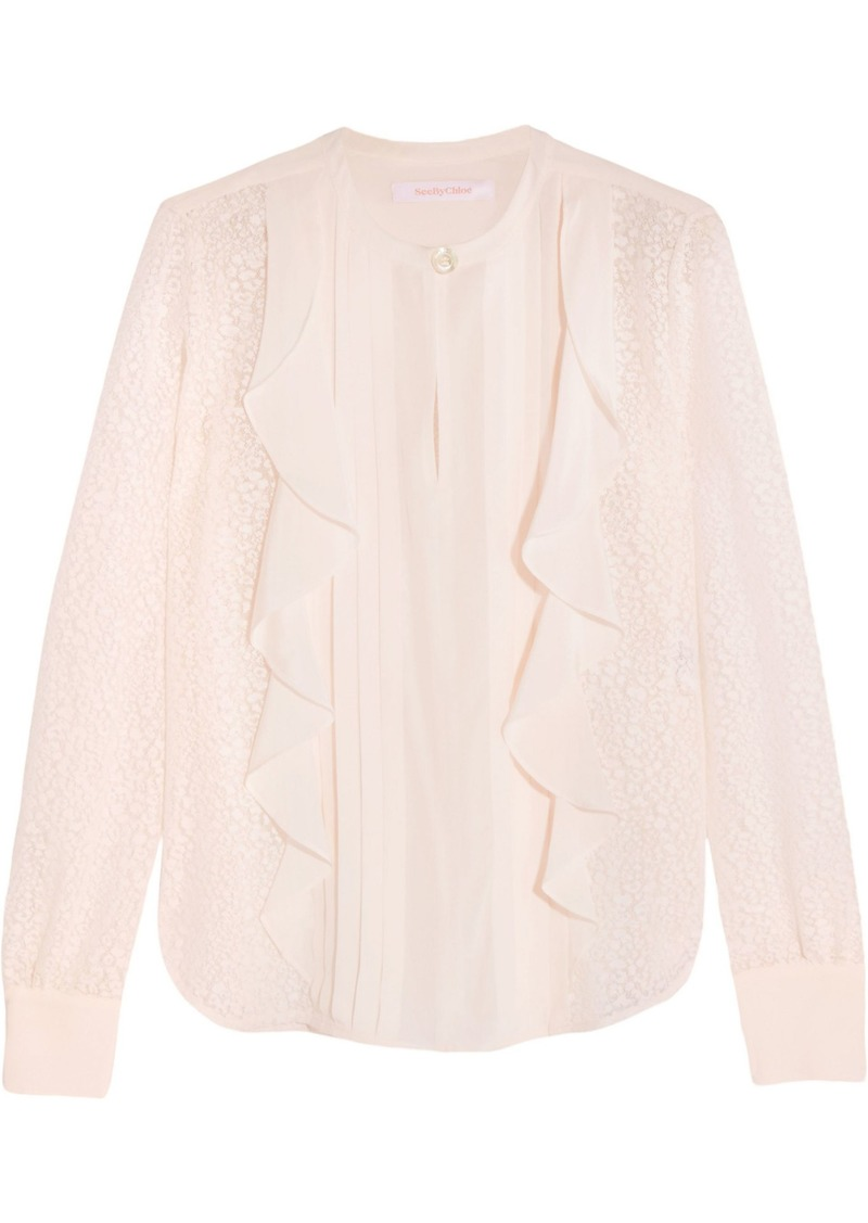 See By Chloé Woman Ruffled Devoré-chiffon Blouse White