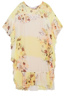 See By Chloé Woman Ruffled Floral-print Georgette Dress Yellow