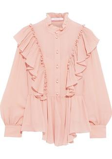 See By Chloé Woman Ruffled Georgette Peplum Blouse Blush