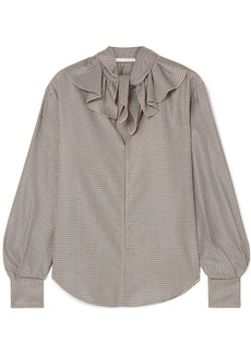 See By Chloé Woman Ruffled Houndstooth Crepe Blouse Multicolor