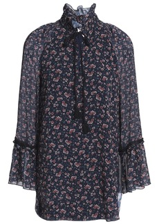 See By Chloé Woman Ruffled Lace-trimmed Floral-print Georgette Blouse Navy