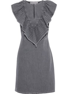 See By Chloé Woman Ruffled Pintucked Denim Mini Dress Dark Gray