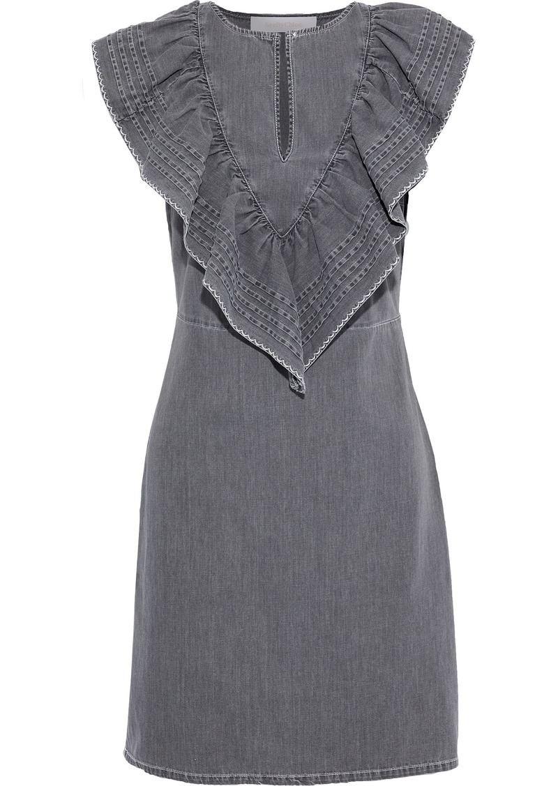 See By Chloé Woman Ruffled Pintucked Denim Mini Dress Dark Gray