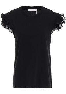 See By Chloé Woman Ruffle-trimmed Cotton-jersey Top Black