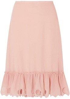 See By Chloé Woman Embroidered Plissé-georgette Midi Skirt Blush