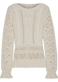 See By Chloé Woman Ruffled Pointelle And Cable-knit Sweater Ecru