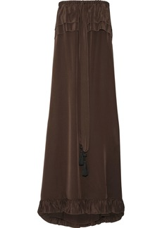 See By Chloé Woman Strapless Ruffle-trimmed Silk-satin Maxi Dress Chocolate