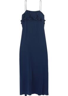 See By Chloé Woman Ruffled Silk Crepe De Chine Midi Dress Navy