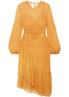 See By Chloé Woman Gathered Silk-georgette Midi Dress Marigold