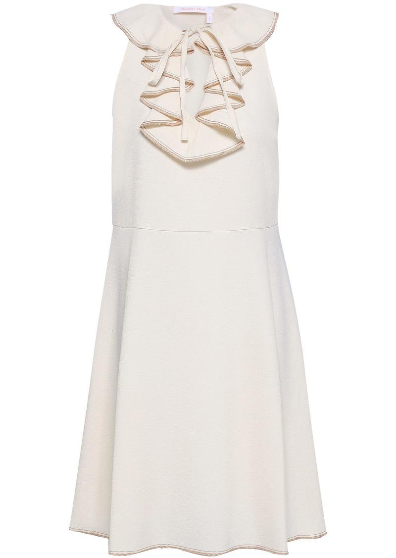 See By Chloé Woman Ruffled Stretch-crepe Dress Ecru
