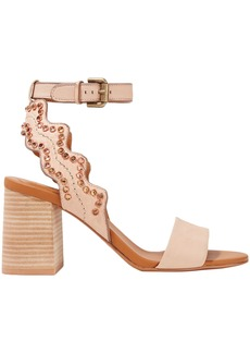 See By Chloé Woman Scalloped Embellished Leather Sandals Blush