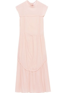 See By Chloé Woman Gathered Crepe De Chine Midi Dress Baby Pink
