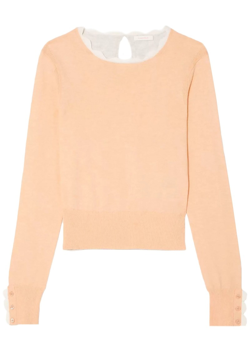 See By Chloé Woman Scalloped Two-tone Cotton-blend Sweater Pastel Orange