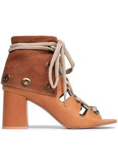 See By Chloé Woman Selma Lace-up Leather Sandals Tan