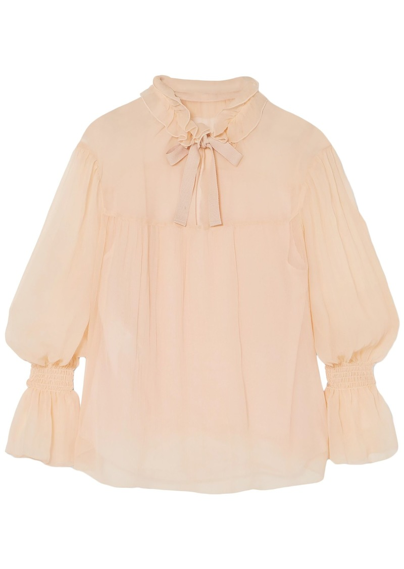 See By Chloé Woman Shirred Plissé Silk-georgette Blouse Peach