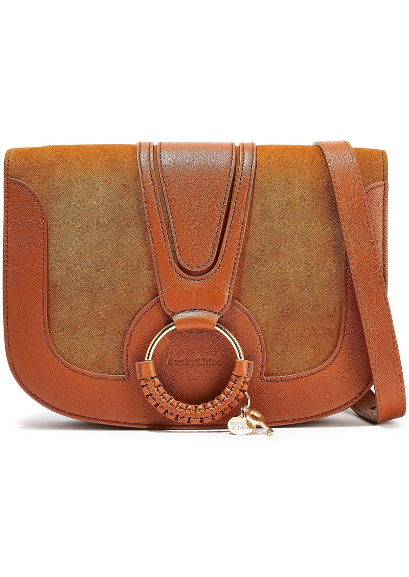 See By Chloé Woman Hana Small Suede And Leather Shoulder Bag Tan