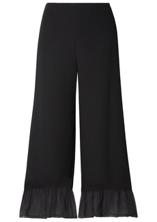 See By Chloé Woman Silk Chiffon-trimmed Crepe Wide-leg Pants Black