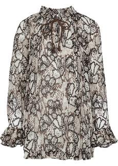 See By Chloé Woman Snake-print Plissé Cotton And Silk-blend Gauze Blouse Light Brown