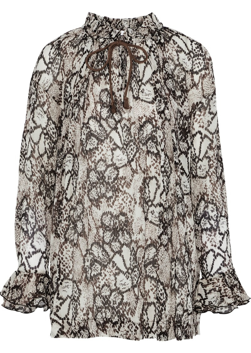 See By Chloé Woman Snake-print Plissé Cotton And Silk-blend Gauze Blouse Light Brown