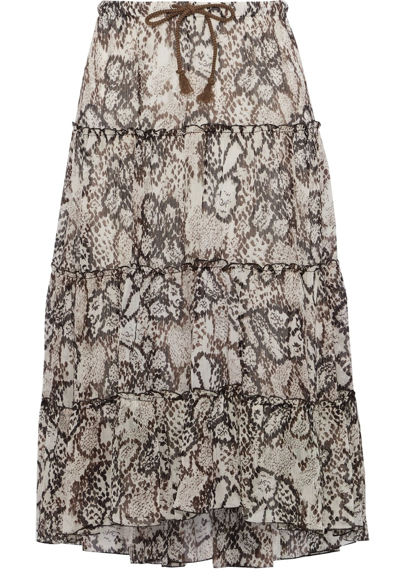 See By Chloé Woman Snake-print Plissé Cotton And Silk-blend Gauze Skirt Brown