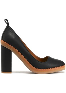 See By Chloé Woman Stasya Scalloped Pebbled-leather Pumps Black