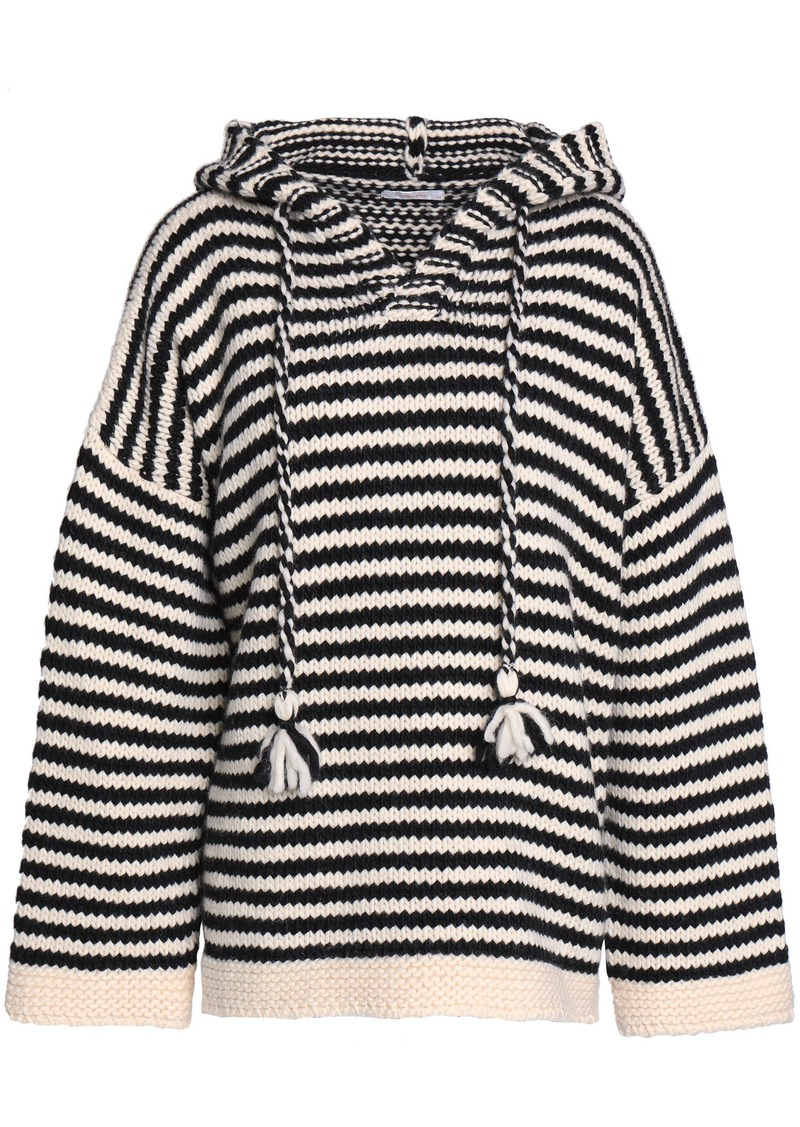 See By Chloé Woman Striped Wool Hooded Sweater Beige