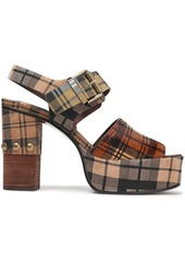 See By Chloé Woman Marta Checked Suede And Calf Hair Platform Sandals Tan