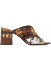 See By Chloé Woman Studded Checked Suede And Calf Hair Sandals Brown