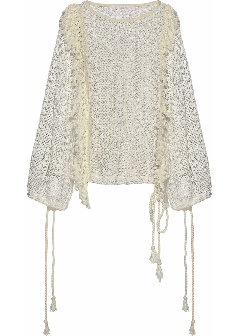 See By Chloé Woman Tassel-trimmed Crocheted Sweater Off-white