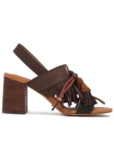 See By Chloé Woman Tasseled Leather And Suede Slingback Sandals Chocolate