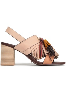 See By Chloé Woman Tasseled Leather And Suede Slingback Sandals Pastel Pink