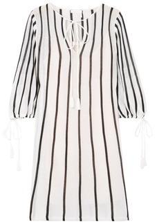 See By Chloé Woman Tasseled Striped Cotton-blend Mini Dress White