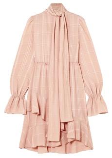 See By Chloé Woman Tie-neck Asymmetric Plissé-crepe Dress Blush