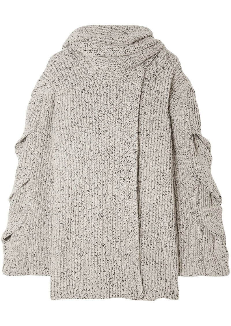 See By Chloé Woman Tie-neck Marled Ribbed-knit Wrap Cardigan Stone