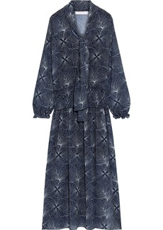 See By Chloé Woman Tie-neck Shirred Printed Georgette Midi Dress Navy