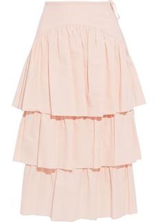 See By Chloé Woman Tiered Cotton-jacquard Midi Skirt Blush