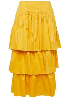 See By Chloé Woman Tiered Cotton-twill Midi Skirt Yellow