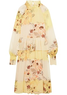 See By Chloé Woman Tiered Floral-print Georgette Dress Yellow