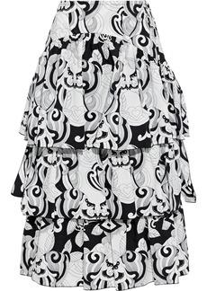 See By Chloé Woman Tiered Printed Cotton-poplin Midi Skirt Black