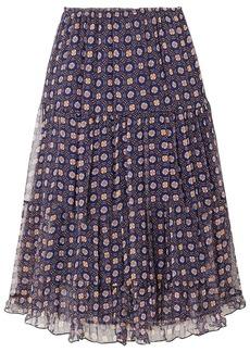 See By Chloé Woman Tiered Printed Silk-georgette Midi Skirt Navy