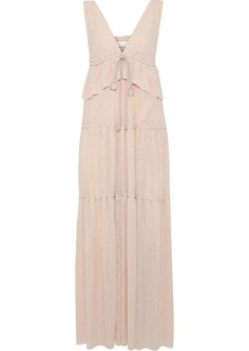 See By Chloé Woman Tiered Crinkled-gauze Peplum Maxi Dress Pastel Pink