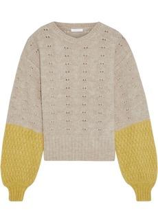 See By Chloé Woman Pointelle-knit Alpaca-blend Sweater Beige