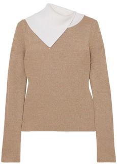 See By Chloé Woman Two-tone Ribbed Wool Sweater Beige