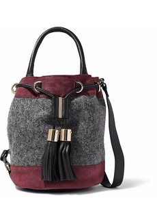 See By Chloé Woman Vicki Leather-trimmed Suede And Felt Bucket Bag Gray