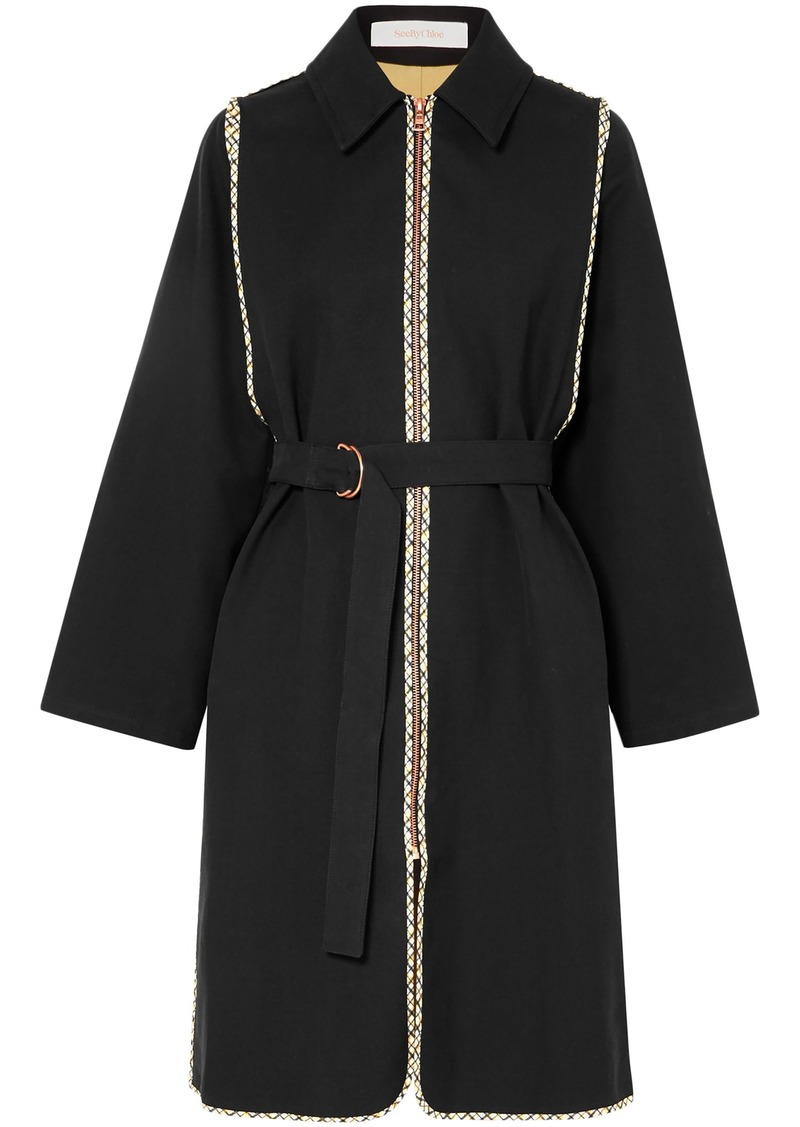 See By Chloé Woman Belted Zip-detailed Cotton-twill Coat Black