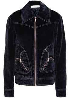 See By Chloé Woman Zip-detailed Cotton-blend Crushed-velvet Jacket Midnight Blue