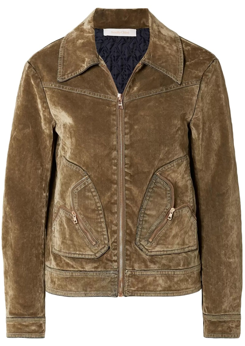 See By Chloé Woman Distressed Cotton-blend Velvet Bomber Jacket Light Brown