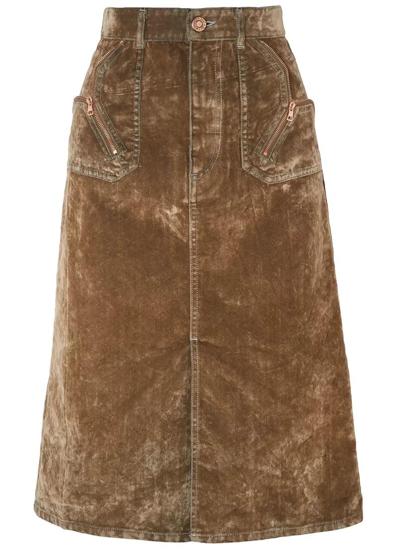 See By Chloé Woman Zip-detailed Cotton-blend Velvet Skirt Light Brown