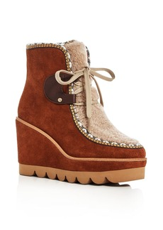 See by Chloé See by Chlo� Women's Klaudia Suede & Shearling Platform Wedge Booties